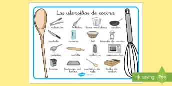 Tapiz de vocabulario: Los utensilios de cocina  - cocina, cocinar, preparación de comida, vocabulario, Spanish