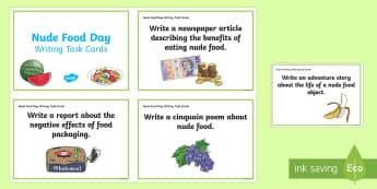 Nude Food Day Writing Challenge Cards - Healthy eating, healthy food, literacy, persuasive, poetry,Australia