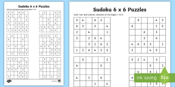 Sudoku 6 x 6 Activity Sheet - Number Puzzle, Game, Sudoku, Activity, Puzzle, worksheet, maths