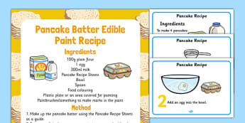 Pancake Batter Edible Paint Recipe - shrove Tuesday, pancake batter, pancake, batter, recipe, paint