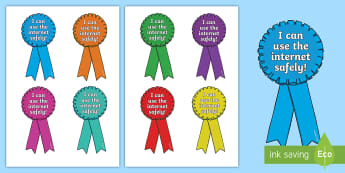 I Can Use the Internet Safely Rosettes - rosettes, i can use the internet safely, internet safety, internet safety rosettes, award rosettes, badges, award badges, internet safety badges