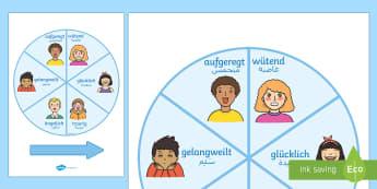 Deutsch-Arabisches Gefühle Spinnrad Aktivität - Deutsch lernen, Deutsch-Arabische Materialien, Deutsch Arabische Materialien, Deutsch Arabische Lehr