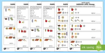 Addition with Money Differentiated Activity Sheets Arabic/English - Australian currency currency, money, counting, shopping, Australia, dollars, cents,Arabic-translatio - Australian currency currency, money, counting, shopping, Australia, dollars, ce