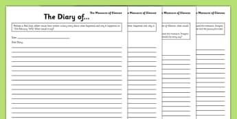 The Massacre of Glencoe Diary Writing Frames - Bonnie Prince Charlie, Glencoe