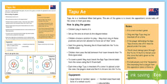 Tapu Ae  Invasion Game Adult Guidance - PE Curriculum Aims KS2, Play competitive game, modified where appropriate, and apply basic principle
