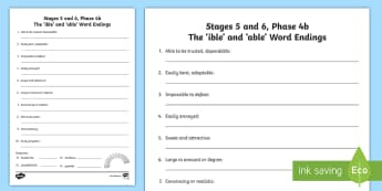 Northern Ireland Linguistic Phonics Stage 5 and 6, Phase 4b 'ible' and 'able' Activity Sheet