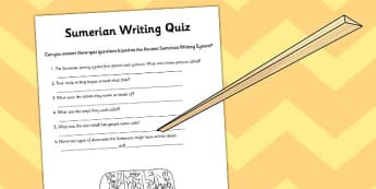 Ancient Sumer Writing Quick Quiz - sumer, writing, quiz, writing
