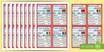 European Countries Card Game Spanish - spanish, cards, countries, european