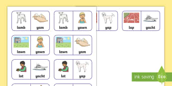 'l' and 'y' Minimal Pairs Dominoes - support, phonological processes, speech, sounds, pronunciation,