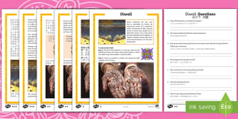 Diwali Differentiated Reading Comprehension Activity English/Mandarin Chinese - KS2, comprehension, reading, reading comprehension, reading activity, Diwali, week, festival, celebr