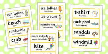 Seaside Word Cards Polish Translation - polish, seaside, word cards