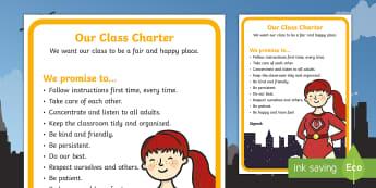 Editable Class Charter Superhero-Themed Display - Editable, Class, Charter, Superhero, Themed, Display, Poster, Classroom, Management, Behaviour, Sign