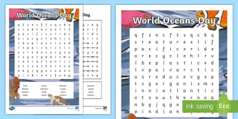 World Oceans Day Word Search - CfE World Oceans Day (8th June), Oceans Day, Oceans of the World, Scottish events, June global days,