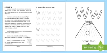 Învățăm litera W Broșură cu activități - litere, litera w, clasa pregătitoare, alfabet, alfabetul, broșură, activități,Romanian