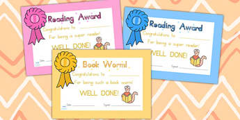 Editable Reading Award Certificates - reading, certificate, award