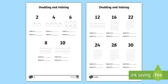Doubling and Halving Activity Sheet - doubling, halving, worksheet, Multiply, half, double