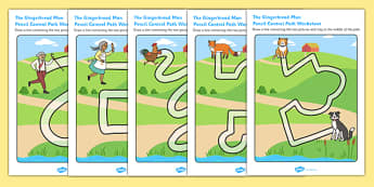 The Gingerbread Man Pencil Control Path Activity Sheets - control path