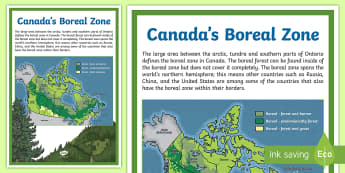 Canada's Boreal Zone Map - Earth Day, map, boreal zone, ecosystem, Canada, land, geography, display, social studies.
