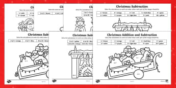 Top Ten Christmas Colour by Number Add and Subtract Activity Pack