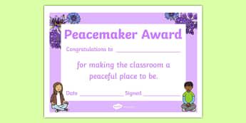 Peacemaker Award Certificate - peacemaker, award, certificate, peace, praise