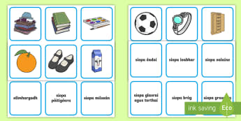 Shopping Matching Cards Gaeilge - Ag Siopadóireacht, siopadóireacht, Irish, siopa, shopping, shops,