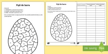 Oul de Paște Colorează după persoana pronumelui - Paști, Pasti, Paște, Paste, fișă de lucru, material, romanian, ou, ouă, cuvinte, pronume, perso
