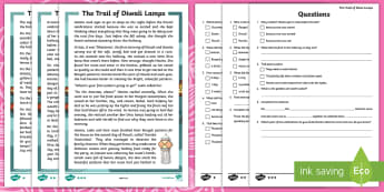KS1 Diwali Story Differentiated Reading Comprehension Activity - Divali, Celebration, Hindu, Festival, Fiction, diva, diya, lakshmi