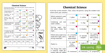 Year 2 Chemical Science Questions and Colouring Activity Sheets - australian science, ACSSU031, materials, properties of matter, grade 2, worksheets, Australia