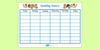 Healthy Eating Class Chart - healthy eating, healthy eating chart, food chart, class food chart, healthy eating record, healthy eating class display chart