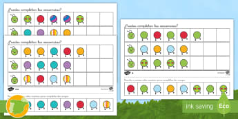 Ficha de actividad de atención a la diversidad: Completar las secuencias - Orugas - secuencias, secuenciar, mates, matemáticas, orugas, oruga, bicho, ,Spanish