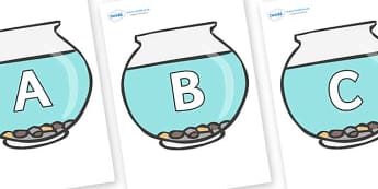 A-Z Alphabet on Fish Bowls - A-Z, A4, display, Alphabet frieze, Display letters, Letter posters, A-Z letters, Alphabet flashcards
