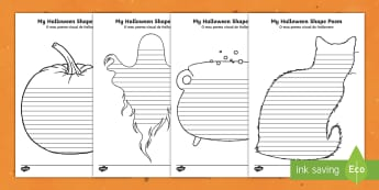 Halloween Shape Poetry Templates English/Portuguese -  halloween, shape, poetry, templates, worksheet, poem,EAL