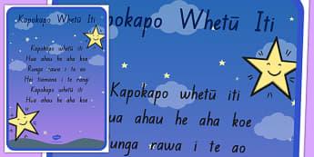 Kapokapo Whetū Iti Song A3 Poster Te Reo Māori - nz, new zealand, twinkle twinkle little star, nursery rhyme, te reo māori, a3 poster