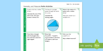 Higher: Geometry and Measure (Non-Calculator) Revision Activity Mat - Exams Geometry, Measure, Non-Calculator, Using and Applying, Reasoning and Fluency, Problem Solving.