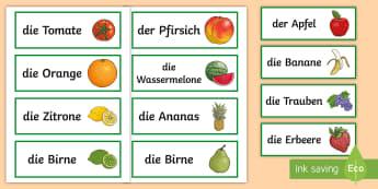 Fruit Word Cards German - Fruit, Obst, German, Word Cards, MFL, Languages