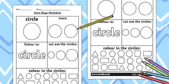 Circle Shape Worksheet - shapes, 2D shapes, tracing, numeracy