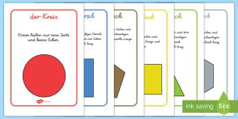 Formen Informationen Poster für die Klassenraumgestaltung - Mathe, Geometrie, Flächen, Seiten, Ecken, Figuren, ,German