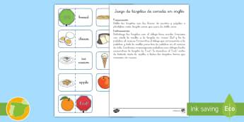Juego: Emparejar la comida - Inglés - foods , english, lengua extranjera, meat, fruit, game,,Spanish-translation