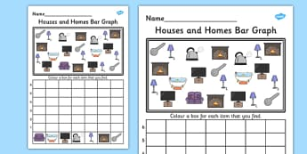 Houses and Homes Bar Graph Activity Worksheet - graph, activity