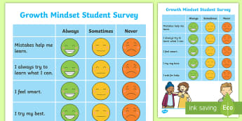 Growth Mindset Junior Assessment Tracker - growth Mindset, survey, assessment, self assessment, new zealand