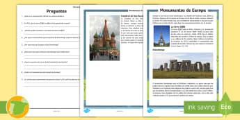 Comprensión lectora: Los monumentos de Europa - lectura, Catedral, San Basilio, Stonehenge, torre, Eiffel, París, Rusia, Reino Unido, leer, escritu