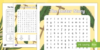 Easter Story Word Search - easter, wordsearch, key words, vocabulary, celebrations, religion, easter story, jesus