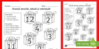 Aruncă zarurile și colorează suma: Crăciun Activitate - numere, culori, numărul și cifra, culori, arte, adunări, adunare, jocuri, activități, Romanian