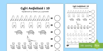 Taflen Weithgaredd Cyfri Anifeiliaid Anwes  - cyfri, cyfrwch, count, counting, anifeiliaid anwes, pet animals, sgiliau datrys problemau, problem s