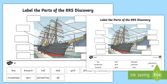 Label the Parts of the RRS Discovery Differentiated Activity Sheets - RRS, Discovery, Explorer, Tallship, worksheets
