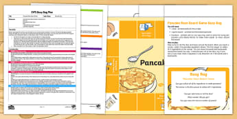 EYFS Pancake Race Board Game Busy Bag Plan and Resource Pack - EYFS, Pancake Day,February, 28th, Shrove Tuesday, pancake, cooking, board game,