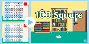 100 Number Square PowerPoint - New Zealand, maths, hundreds square, powerpoint, number recognition, forward sequences, backwards se