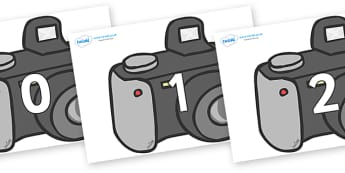 Numbers 0-50 on Cameras - 0-50, foundation stage numeracy, Number recognition, Number flashcards, counting, number frieze, Display numbers, number posters