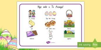 Easter Word Mat Te Reo Māori - New Zealand Easter, word mat, writing prompt