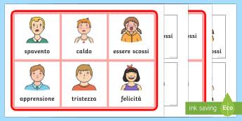 La Lotteria dei Sentimenti - emozioni, sentimenti, lotteria, bingo, gioco, classe, alunni, elementari, italiano, italian